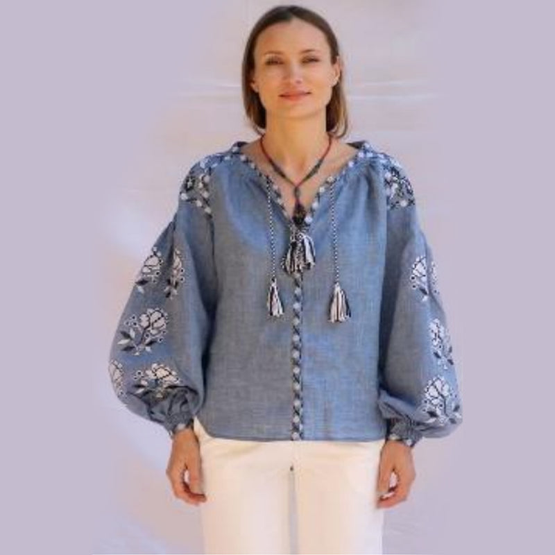 Women's Long Sleeves Light Blue Top With White and Black Embroidery 400 Pcs
