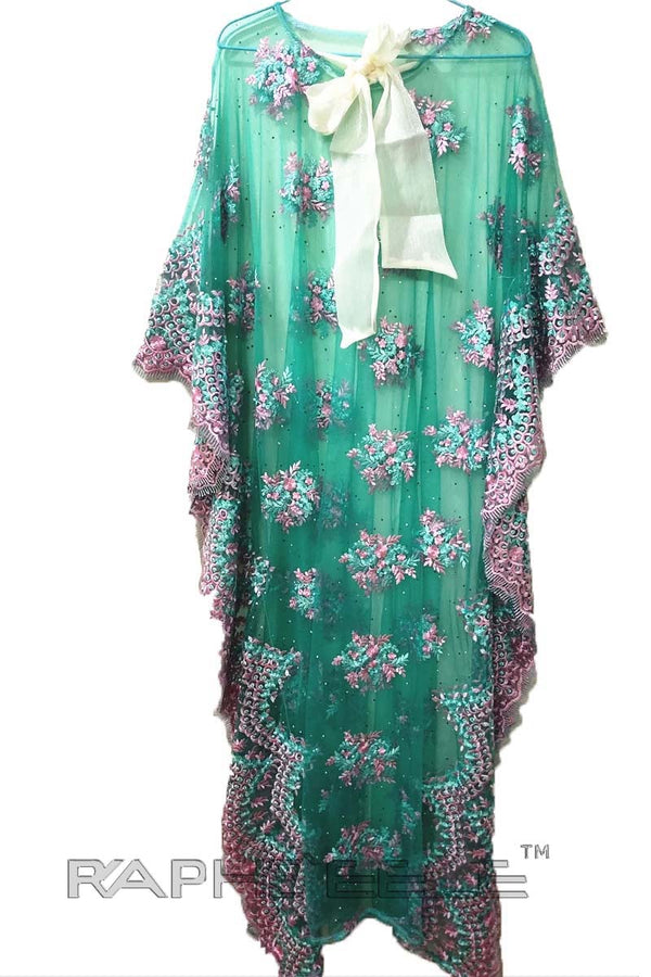 Leaf Green Caftan Long Maxi Gown
