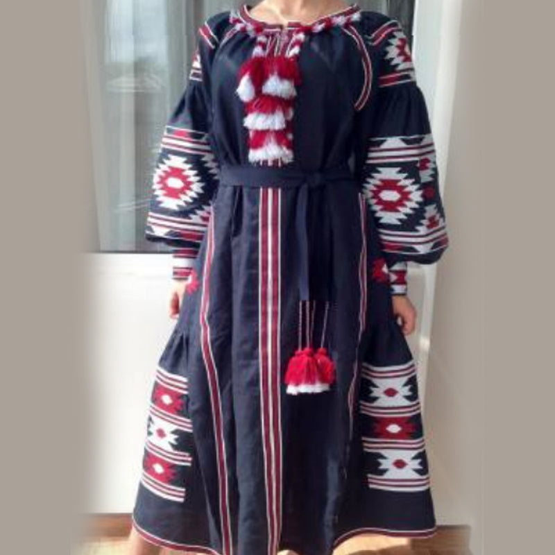Women's Long Sleeves Blue Dress With Red and White Embroidery 100 Pcs