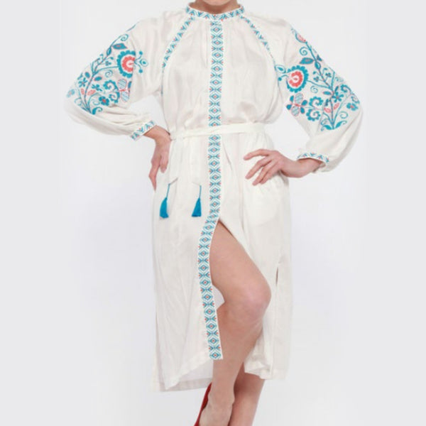 Women's Long Sleeves White Dress With Blue and Orange Embroidery 400 Pcs