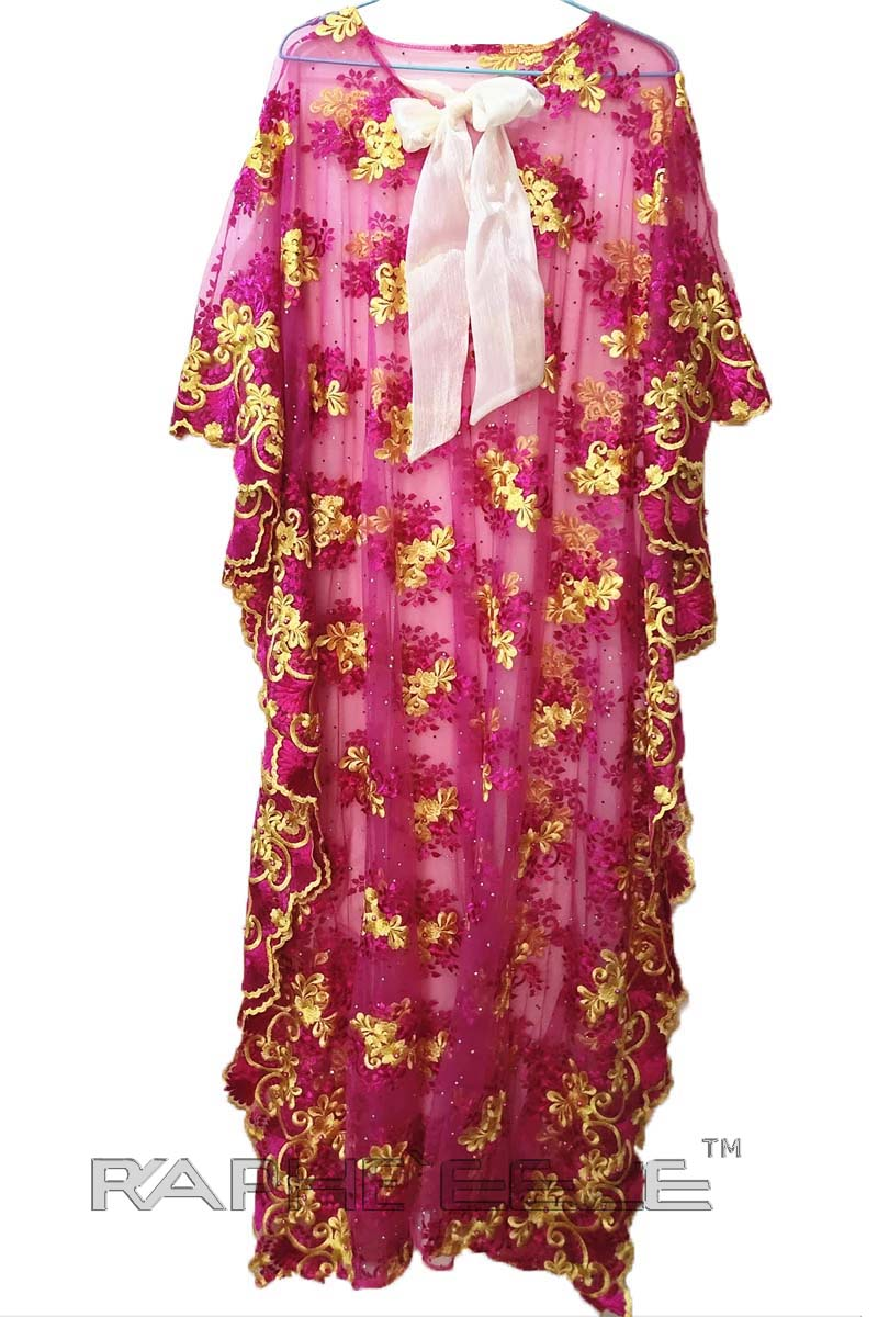 Soft Pink Maxi Caftan Lace Gown