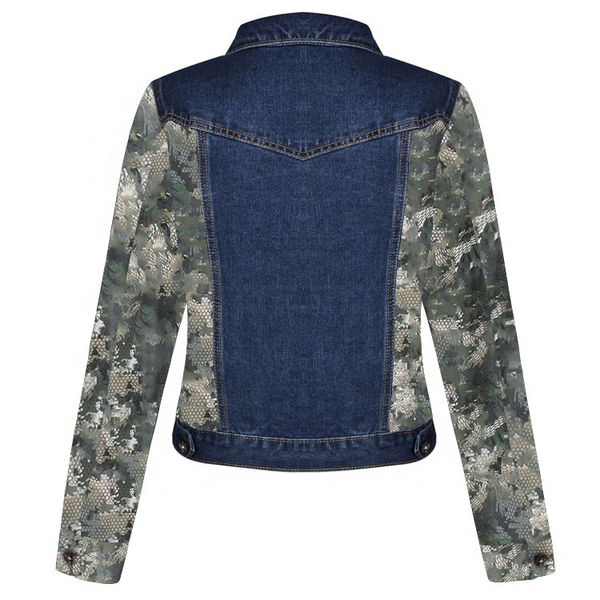 Snake in the Camouflage Designed Street Wear Classic Denim Jacket with Long Sleeves