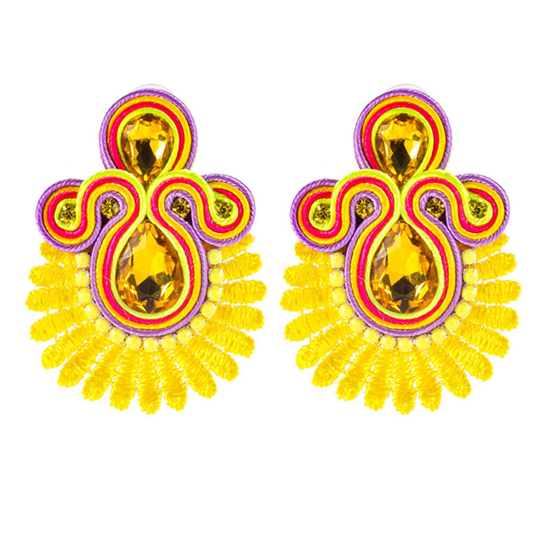 Crystal Decoration Drop Earring Soutache Earrings Jewelry for Female - Yellow Color