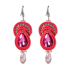 Creative Big Hanging Earring Style Drop Soutache Earrings For Women-Pink Color