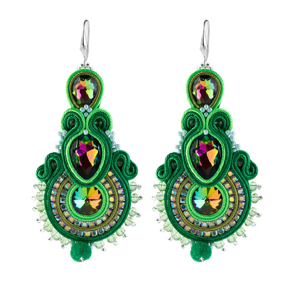 Big Hanging Earring Soutache Leather Drop Earrings for women-Green Color