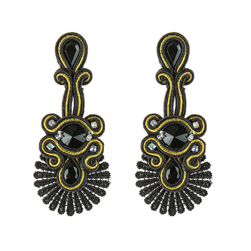 Ethnic Style Leather Rhinestone Retro Soutache Earrings for Female-Black Color