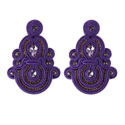 Ethnic Style Long Hanging Pendant Earrings- Purple Color