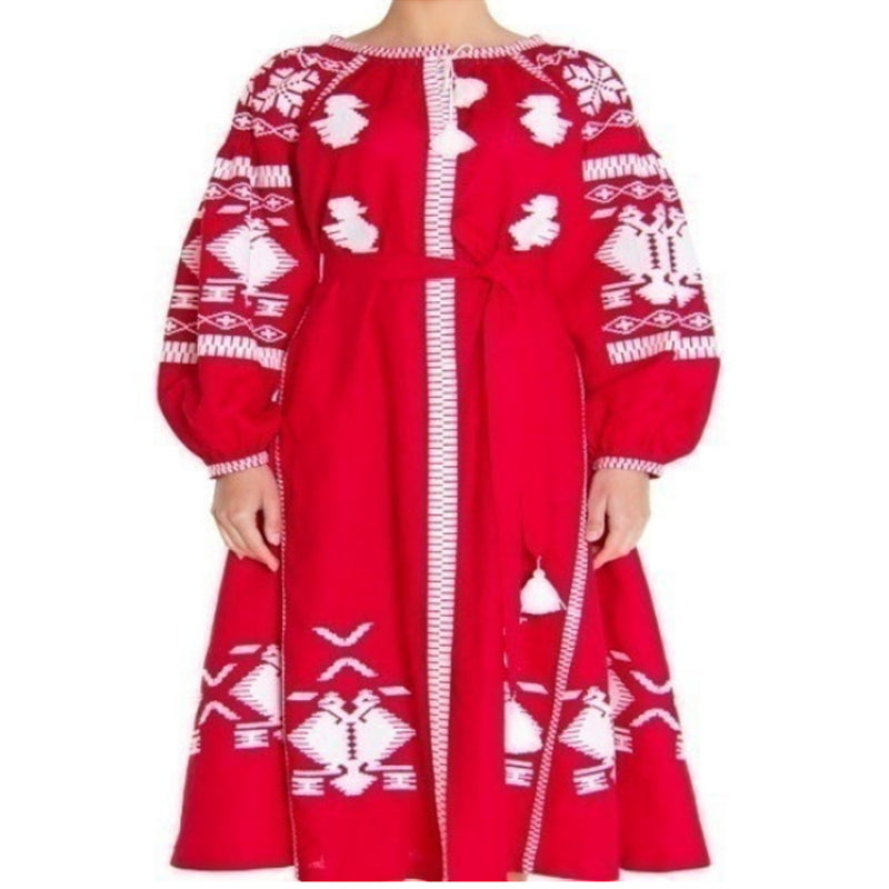 Women's Long sleeves Red Dress with White Embroidery 400 Pcs