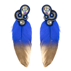 Big feathers shaped Soutache Earrings for Ladies -Blue Color