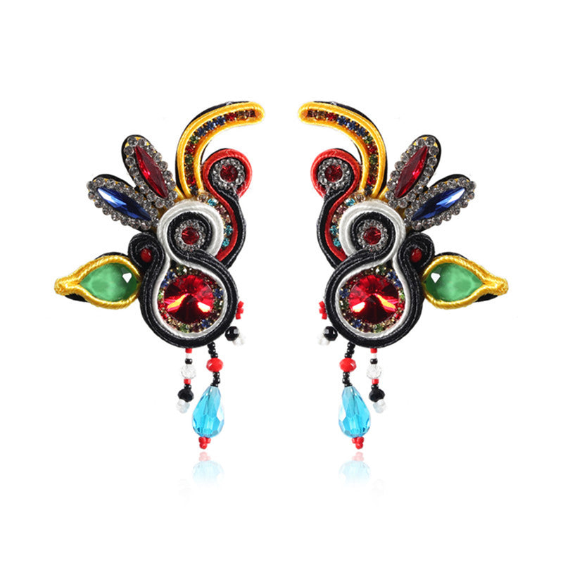 Handmade Soutache Long Hanging Leather Earrings for Women-Multi Color