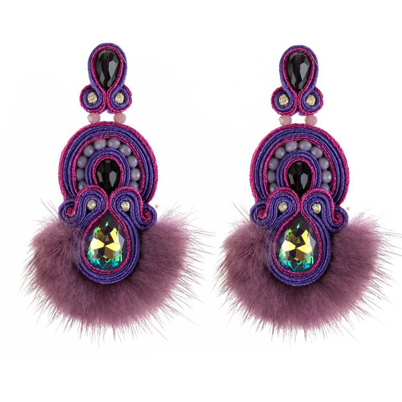 Ethnic Style Leather Pendant Tassel Earrings Geometric Jewelry for Ladies-Purple Color
