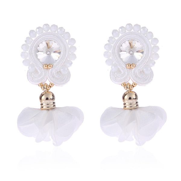 Soutache Big Drop Leather Hanging Earrings Jewelry for Women-White Color
