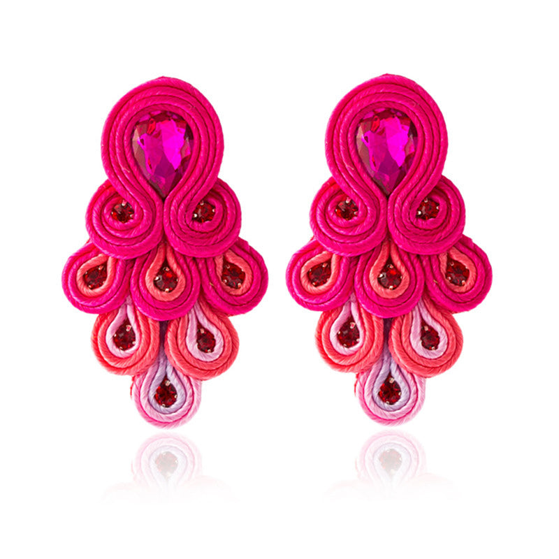 Peacock Tail Shape Soutache Earring for women- Shocking Pink Color