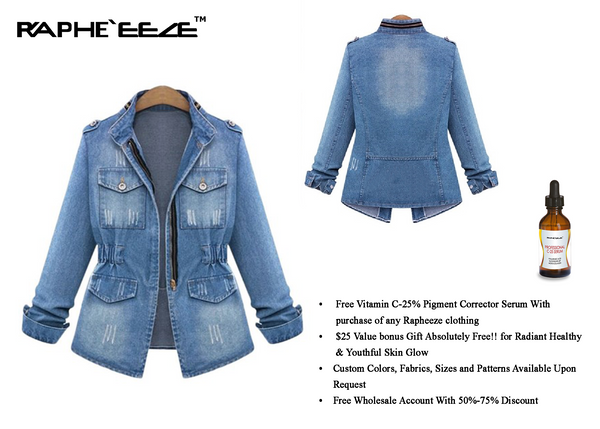 Street wear Vintage Style Elastic Waist Denim Jacket with Long Sleeve for Women