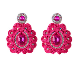 Big Drop Crystal Decoration Handmade Soutache Earring for female-Pink Color