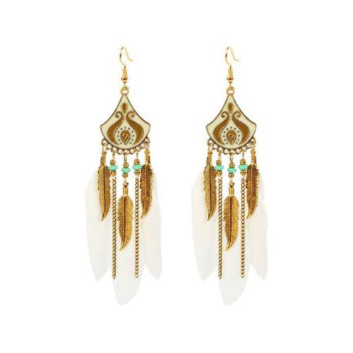 Bohemian Crescent Style Beaded Earrings For Women's with White and Gold Color Tassel