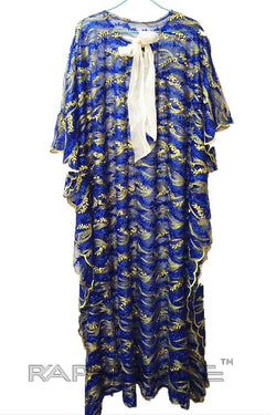 Blue Yellow Trendy Maxi Lace Caftan