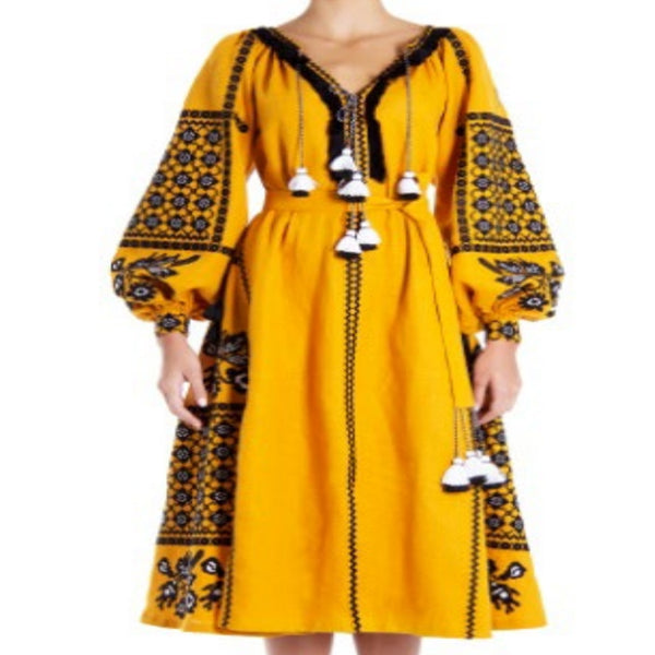 Women's Long Sleeves Yellow Dress With Black and White Embroidery 400 Pcs