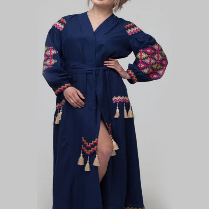 Women's Long Sleeves Blue Dress With Multicolor Embroidery 12 Pcs