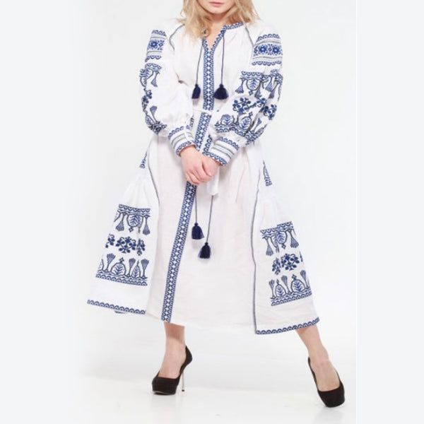 Women's Long Sleeves White Dress With Blue Embroidery 400 Pcs