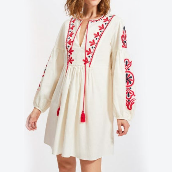 Women's Long Sleeves Off White Dress With Red And Black Embroidery 400 Pcs