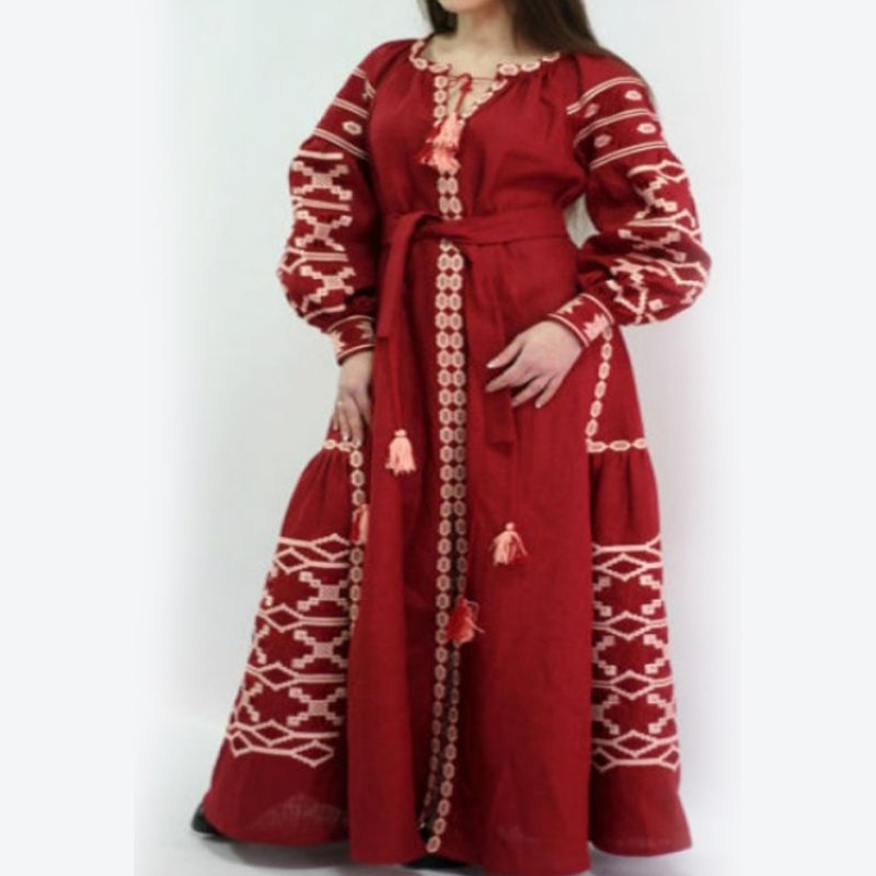 Women's Long Sleeves Red Dress With White Embroidery 100 Pcs