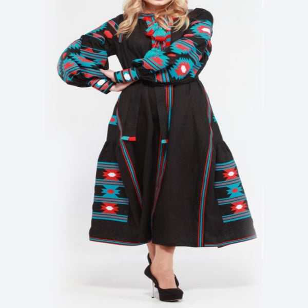 Women's Long Sleeves Black Dress With Multicolor Embroidery 400 Pcs