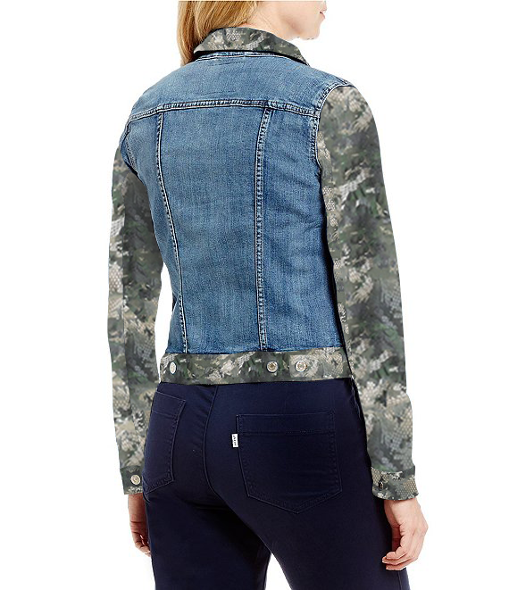 Street Wear Classic Denim Jacket with Long Sleeves - Snake in the Camouflage Designed