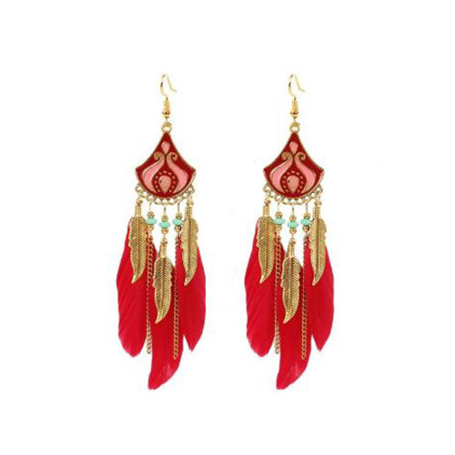 Bohemian Crescent Style Beaded Earrings For Women's with Red and Gold Color Tassel
