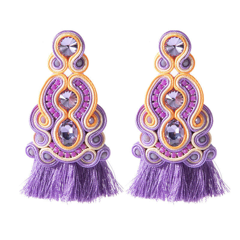 Ethnic Style Leather Soutache Earrings For Women-  Purple Color