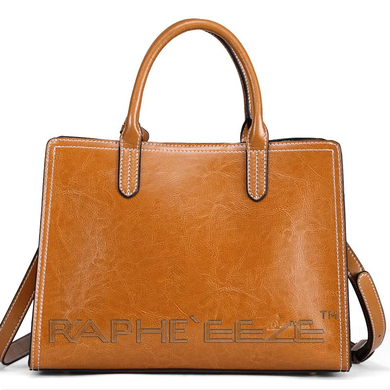 Angelic Tote Handbag for Woman - Leather Brown Color