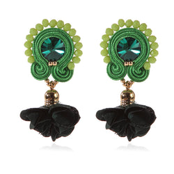 Soutache Big Drop Leather Hanging Earrings Jewelry for Women-Green Color