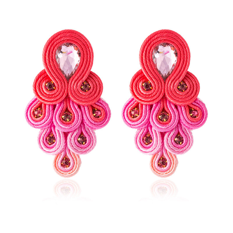 Peacock Tail Shape Soutache Earring for women-  Pink Color