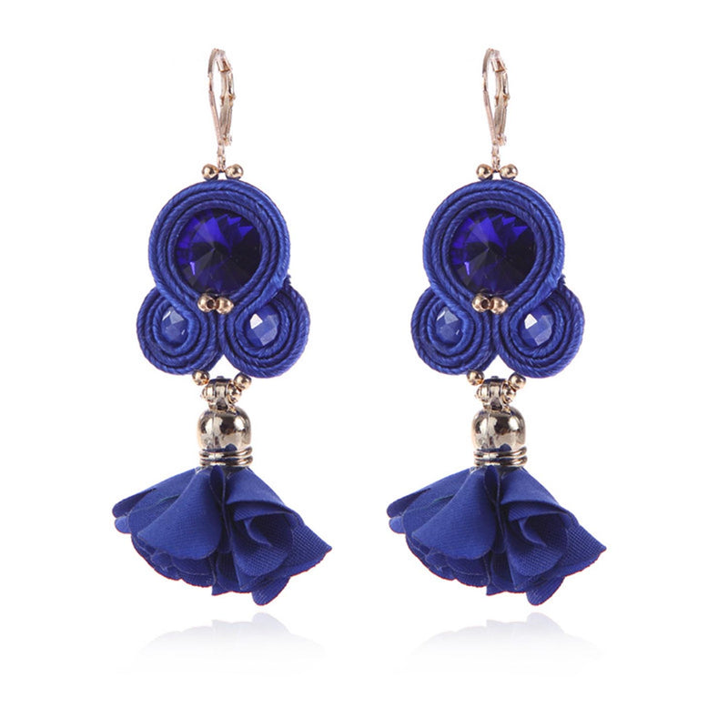 Handmade Soutache Long Hanging Earring Jewelry for Women-Blue Color