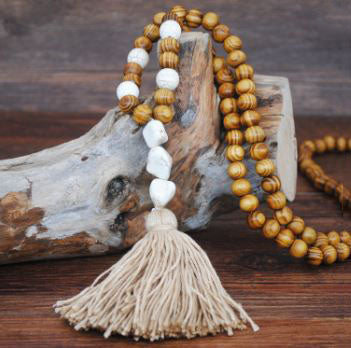 Handmade Wooden Beads Long Necklace & Pendant - 3 Beads Shape with Brown Tassel