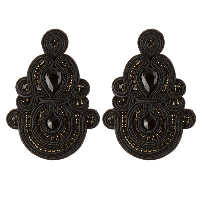Ethnic Style Long Hanging Pendant Earrings- Black Color