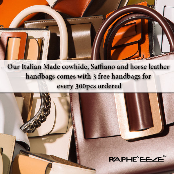 Italian 100% Authentic Leather Bags come with 3 Free Handbags with every 300pcs Ordered