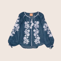 Women's Long sleeves Blue Top with White Embroidery 12 Pcs