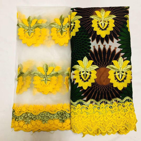Flower Embroidery Designed Original Swiss Cotton Laces  Green  Yellow