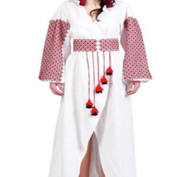 Women's Long Sleeves White Dress With Red and Black Embroidery 400 Pcs