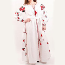 Women's Long Sleeves White Dress With Multicolor Embroidery 100 Pcs
