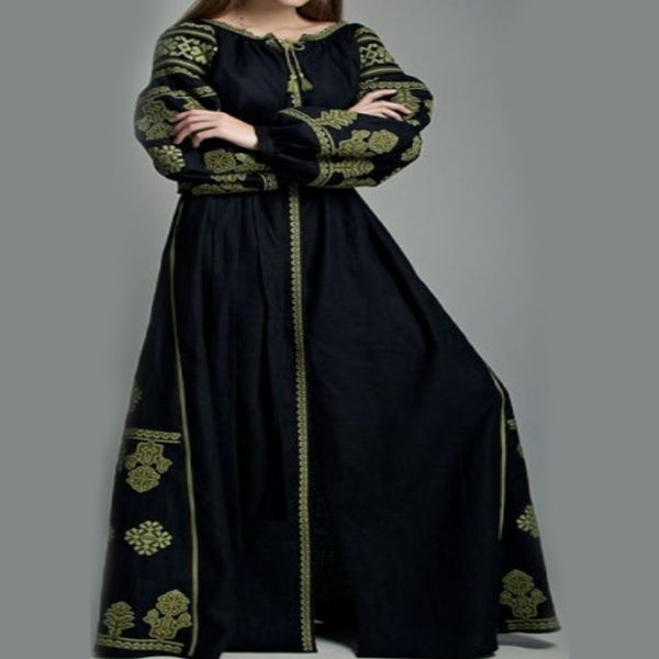 Women's Long Sleeves Black Dress With Green Embroidery 12 Pcs