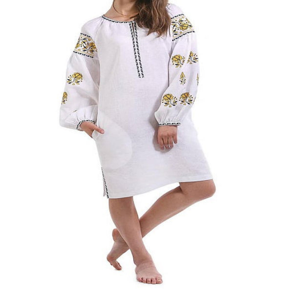 Women's Long Sleeves White Top With Black and Yellow Embroidery 100 Pcs