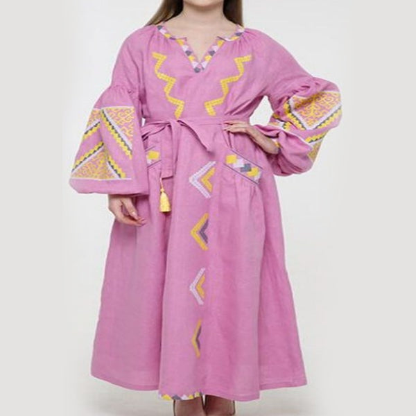 Women's Long Sleeves Pink Dress With Multicolor Embroidery 12 Pcs