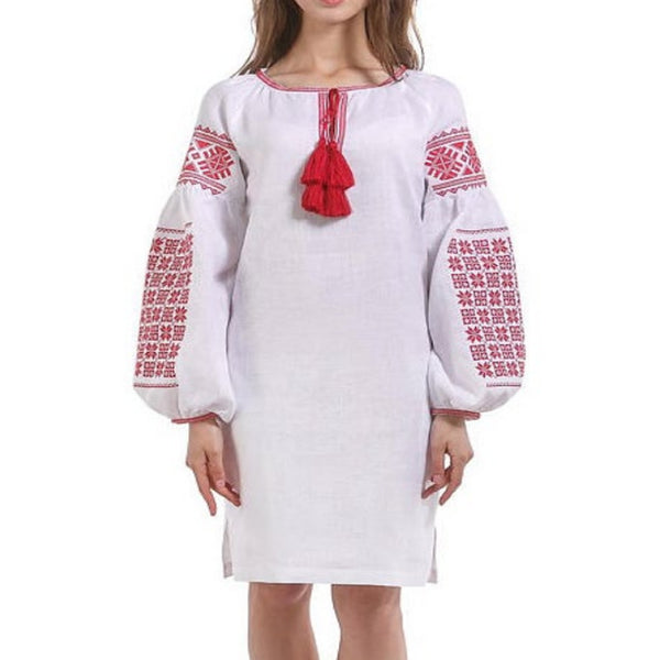 Women's Long Sleeves White Top With Red Embroidery 100 Pcs