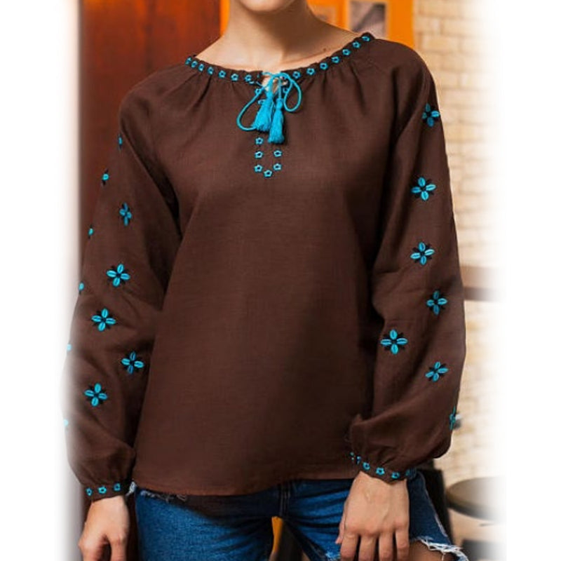 Women's Long Sleeves Brown Top With Blue Embroidery 400 Pcs