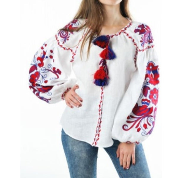 Women's Long Sleeves White Top With Red and Blue Embroidery 400 Pcs