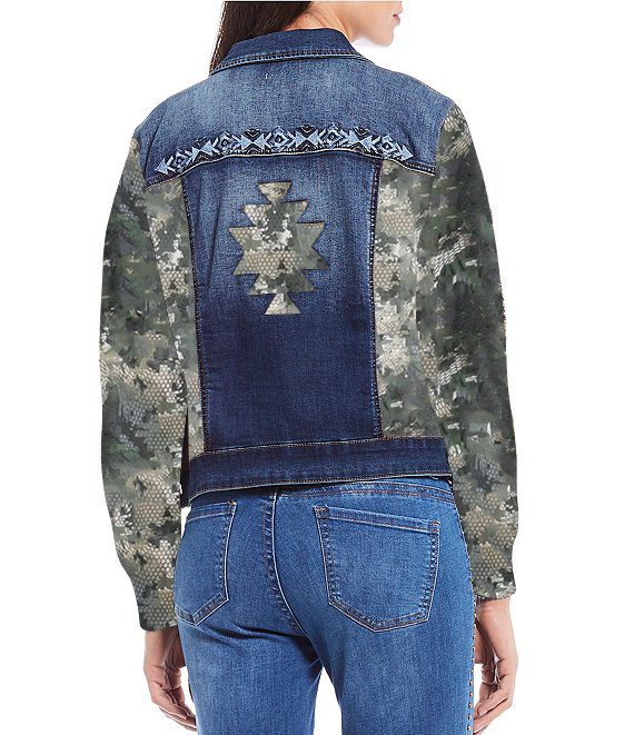 Unique Designed Denim Jacket Long Sleeves with Snake in the Camouflage Print