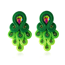 Peacock Tail Shape Soutache Earring for women-  Green Color