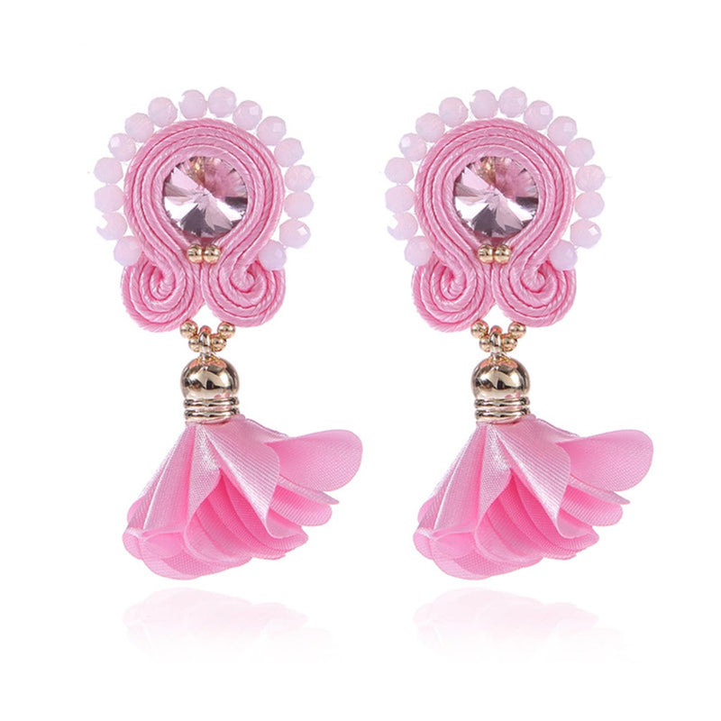 Soutache Big Drop Leather Hanging Earrings Jewelry for Women-Pink Color